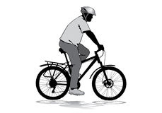 Man with a bicycle. A man in a helmet riding a bike. Silhouette on a white background Stock Photos