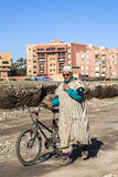 A man with bicycle at Marrakech, Morocco Royalty Free Stock Image