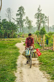 Man on bicycle in Nepal Stock Images