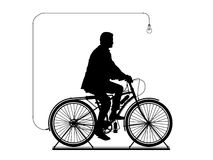 Man on the bicycle in perpetual motion. Man riding on the bicycle connected to a lightbulb and producing electricity Stock Illustration