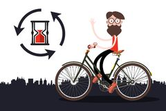 Man on Bicycle with Sand Clock. And City Skyline Royalty Free Illustration