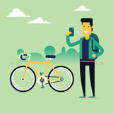 Man-Bicycle-Selfie  Stock Photography