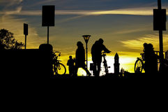 Man with bicycle silhouette. At Malmo, central train station, Sweden Royalty Free Stock Images