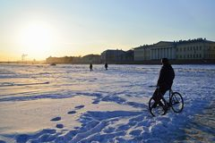 A man with a Bicycle stands on the ice of the Neva river at suns Stock Images