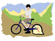 Man with bicycle. Stylish illustration about inevitability of time Stock Photo