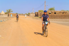 Man on the bicycle in Sudan Royalty Free Stock Images
