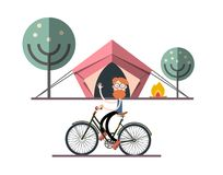 Man on Bicycle with Tent, Fire and Trees. On Background. Adventure Camping Vector Flat Design Illustration vector illustration