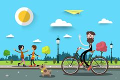 Man on Bicycle with Two Women. Vector Flat Design Nature City Landscape Vector Illustration