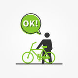 Man with bicycle vector illustration Royalty Free Stock Photography