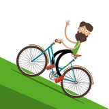 Man on Bicycle with Waving Hand. Man on Bicycle Waving Hand Vector Flat Design Cartoon Stock Photos