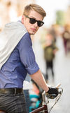 Man with bicycle Royalty Free Stock Image