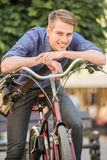 Man with bicycle Royalty Free Stock Photography