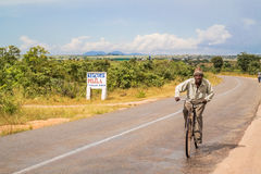 Man on bicycle in Zambia Stock Photography