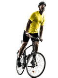 Man bicycling  mountain bike happy joy silhouette. One caucasian man exercising bicycle mountain bike  happy joy on white background Stock Image