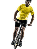 Man bicycling  mountain bike silhouette. One caucasian man exercising bicycle mountain bike   on white background Royalty Free Stock Photo
