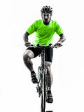 Man bicycling  mountain bike silhouette Royalty Free Stock Images
