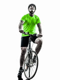 Man bicycling  mountain bike silhouette Stock Photos
