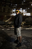 Man in big abandoned hall Royalty Free Stock Photo