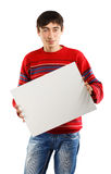 Man with big advertisement Stock Photography