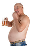 Man with a big belly eat fish with a beer in hand. Isolated on white background Stock Photos