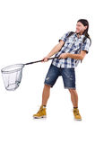 Man with big catching net Stock Photography