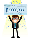 Man with a big check. Man holding a huge check of one million dollar Stock Photos