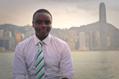 Man in a big city. Black man in a big city Stock Photography