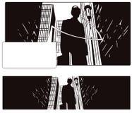Man in big city. Stock illustration. Stock Photos