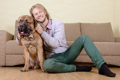 Man with big dog. Young man at home playing with a big bullmastiff dog. positively laugh Stock Photography