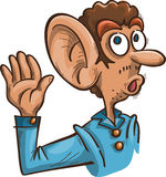 Man with big ear. Cartoon man with a big ear something eavesdropping, vector, isolated on white Royalty Free Stock Photo