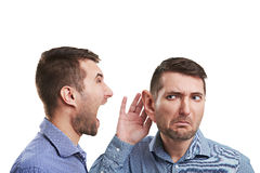 Man with big ear listening Royalty Free Stock Image