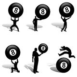 Man With Big Eight Ball Silhouettes Stock Photography