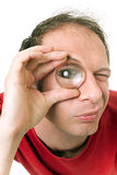 Man with big eye Stock Photo