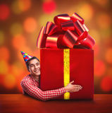 Man with a big gift Stock Photos
