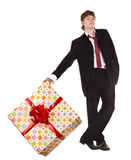 Man with big gift box. Stock Image