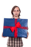 Man with big gift box Royalty Free Stock Images
