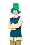 Man in big green hat. St Patric day. Isolated Stock Photo