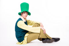 Man in big green hat. St Patric day. Isolated Royalty Free Stock Photos