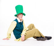 Man in big green hat. St Patric day. Isolated Royalty Free Stock Photography