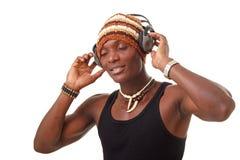 Man with big headphones Stock Images