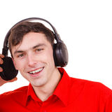 Man in big headphones listening music Stock Photography