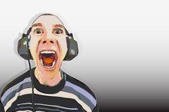 Man in the big headphones loud singing Royalty Free Stock Photos