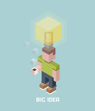 Man with big idea bulb overhead, cubes composition isometric vector illustration Stock Photography
