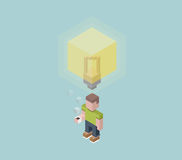 Man with big idea bulb overhead, giant electric lightbulb, cubes composition isometric vector illustration Royalty Free Stock Image