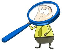 Man with big magnifying glass. Cartoon illustration of businessman looking through a big magnifying glass Royalty Free Stock Photography