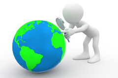 Man with big magnifying glass looking at Earth vector illustration