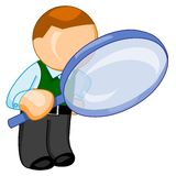 Man with big magnifying glass looks for something. Illustration for web. Clerk keeps in the hands of a huge magnifying glass and looks through it Royalty Free Stock Image