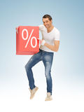 Man with big percent box Royalty Free Stock Photo