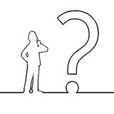 Man with big question mark. Black line art illustration of a man looking at a question mark Stock Photos