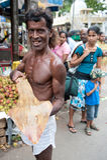 Man with big ray. Fish  Galle Sri Lanka Stock Photo